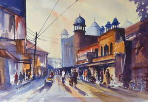 Painting of Early Morning Market, Agra, India